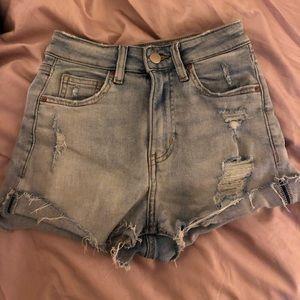 H&M Light Denim Distressed High Rise Shorts